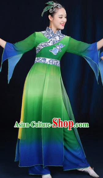 Chinese Traditional Umbrella Dance Group Dance Green Dress Classical Dance Stage Performance Costume for Women