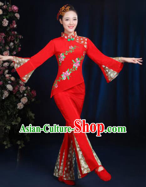 Traditional Chinese Yangko Fan Dance Red Clothing Folk Dance Stage Performance Costume for Women