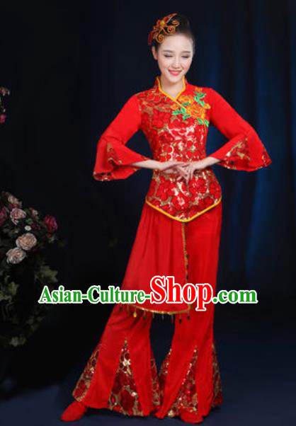 Traditional Chinese Fan Dance Red Clothing Folk Dance Yangko Stage Performance Costume for Women