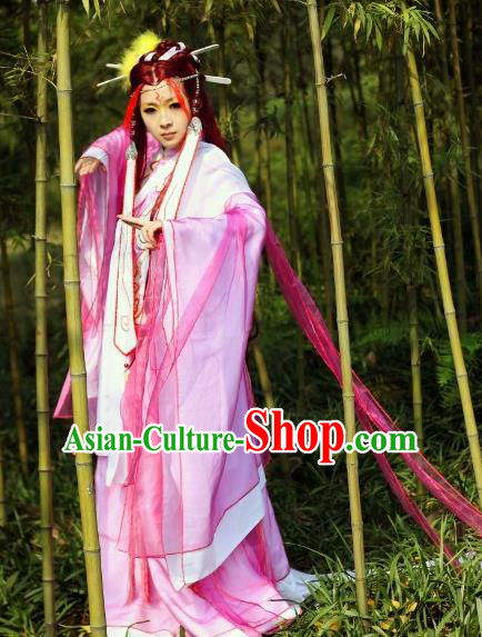 Traditional Chinese Cosplay Peri Princess Pink Hanfu Dress Ancient Swordswoman Embroidered Costume for Women