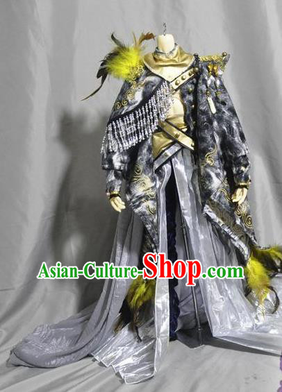 Traditional Chinese Cosplay Young Swordsman Grey Hanfu Clothing Ancient Knight Hero Embroidered Costume for Men