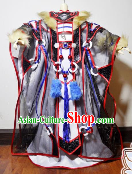 Traditional Chinese Cosplay Taoist Priest Black Hanfu Clothing Ancient Swordsman Knight Hero Embroidered Costume for Men