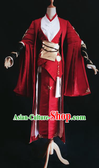 Traditional Chinese Cosplay Female Knight Red Hanfu Dress Ancient Swordswoman Embroidered Costume for Women