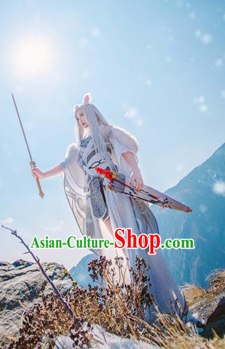 Traditional Chinese Fox Fairy Hanfu Dress Ancient Peri Embroidered Costume for Women