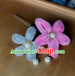 Traditional Chinese Qing Dynasty Velvet Flowers Hairpins Handmade Ancient Palace Hair Accessories for Women