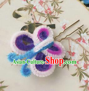 Traditional Chinese Qing Dynasty Velvet Butterfly Hairpins Handmade Ancient Palace Hair Accessories for Women