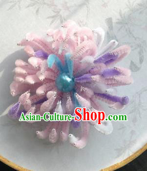 Traditional Chinese Qing Dynasty Pink Velvet Chrysanthemum Hairpins Handmade Ancient Palace Hair Accessories for Women