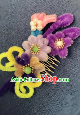Traditional Chinese Qing Dynasty Velvet Flowers Hair Comb Hairpins Handmade Ancient Palace Hair Accessories for Women