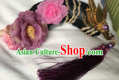 Traditional Chinese Qing Dynasty Imperial Consort Purple Peony Headwear Ancient Palace Manchu Hair Accessories for Women