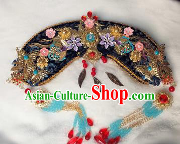 Traditional Chinese Qing Dynasty Imperial Consort Tassel Headwear Ancient Palace Manchu Hair Accessories for Women