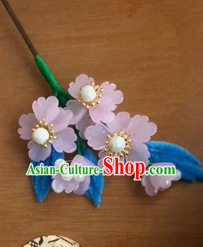 Traditional Chinese Qing Dynasty Pink Flowers Hairpins Handmade Ancient Manchu Lady Hair Accessories for Women