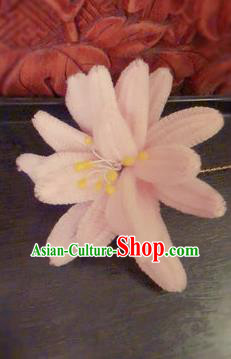 Traditional Chinese Qing Dynasty Pink Velvet Lotus Hairpins Handmade Ancient Manchu Lady Hair Accessories for Women
