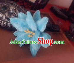 Traditional Chinese Qing Dynasty Blue Velvet Lotus Hairpins Handmade Ancient Manchu Lady Hair Accessories for Women