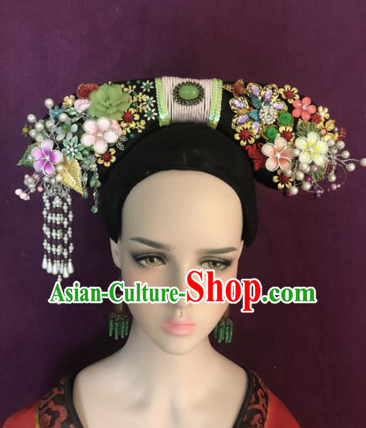 Traditional Chinese Qing Dynasty Palace Princess Headwear Ancient Manchu Lady Hair Accessories for Women