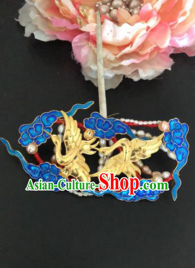 Traditional Chinese Qing Dynasty Cranes Cloisonne Hairpins Handmade Ancient Manchu Lady Hair Accessories for Women