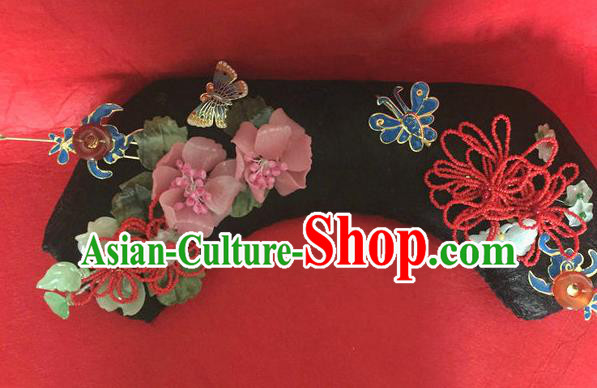 Traditional Chinese Qing Dynasty Palace Headwear Ancient Manchu Lady Hair Accessories for Women