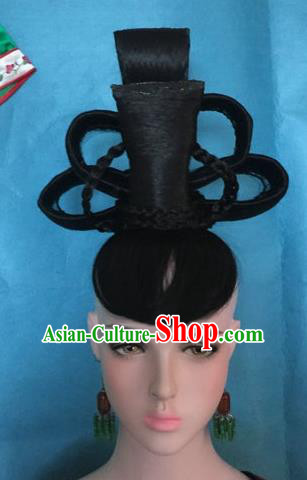 Traditional Chinese Tang Dynasty Peri Imperial Consort Wigs Ancient Empress Chignon Hair Accessories for Women