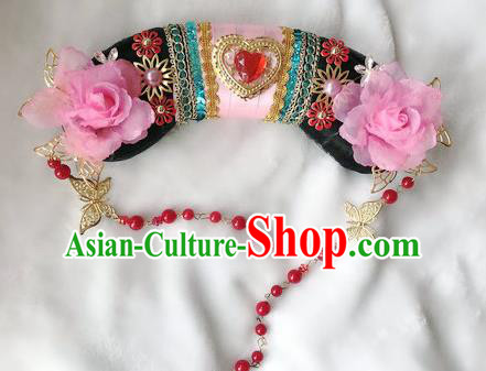 Traditional Chinese Qing Dynasty Imperial Consort Pink Peony Headwear Ancient Palace Manchu Hair Accessories for Women