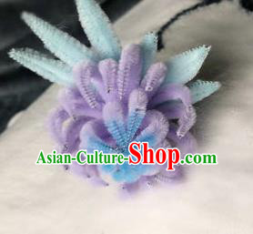 Traditional Chinese Ancient Qing Dynasty Violet Velvet Chrysanthemum Hairpins Handmade Palace Hair Accessories for Women