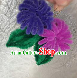 Traditional Chinese Ancient Qing Dynasty Velvet Chrysanthemum Hairpins Handmade Palace Hair Accessories for Women