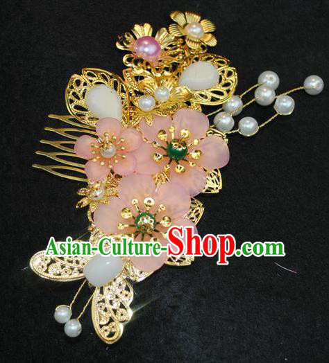 Traditional Chinese Qing Dynasty Princess Hair Comb Hairpins Handmade Ancient Manchu Lady Hair Accessories for Women
