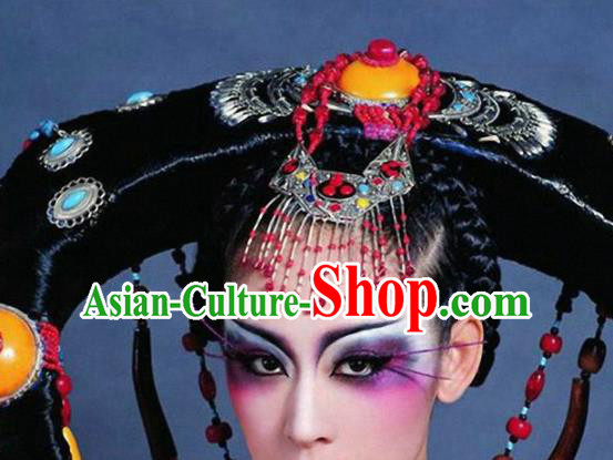 Traditional Chinese Qing Dynasty Mongol Princess Wigs Ancient Palace Lady Chignon Hair Accessories for Women
