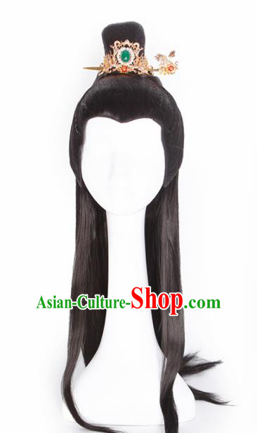 Traditional Chinese Tang Dynasty Prince Wigs Ancient Swordsman Chignon Hair Accessories for Men