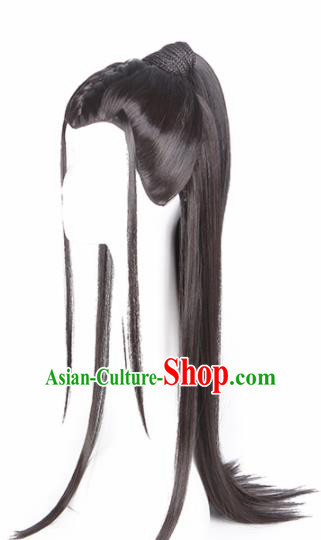 Traditional Chinese Han Dynasty Young Hero Wigs Ancient Swordsman Chignon Hair Accessories for Men
