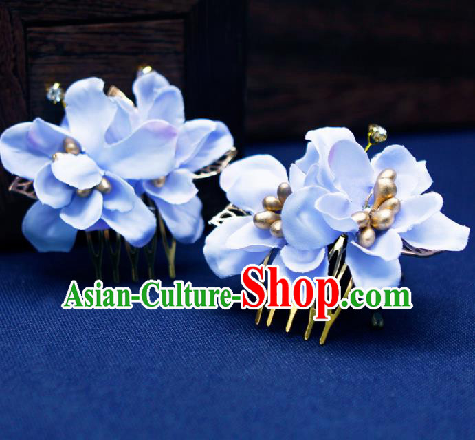 Traditional Chinese Handmade Blue Flowers Hair Combs Hairpins Ancient Princess Hair Accessories for Women