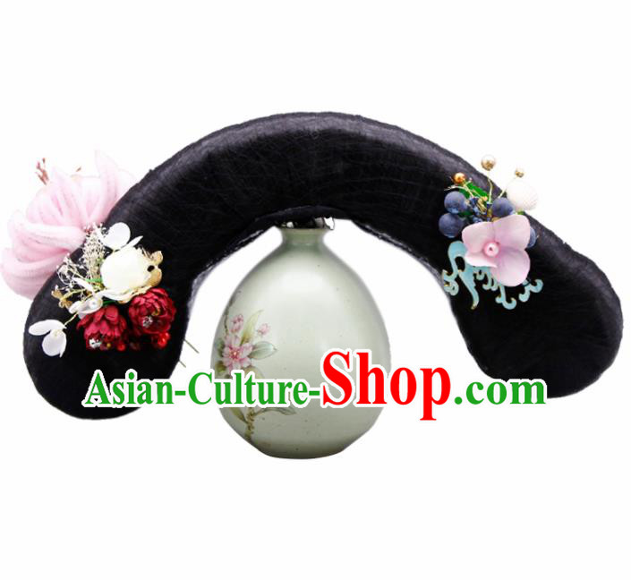 Traditional Chinese Handmade Ancient Wigs and Hairpins Headwear Qing Dynasty Princess Hair Accessories for Women