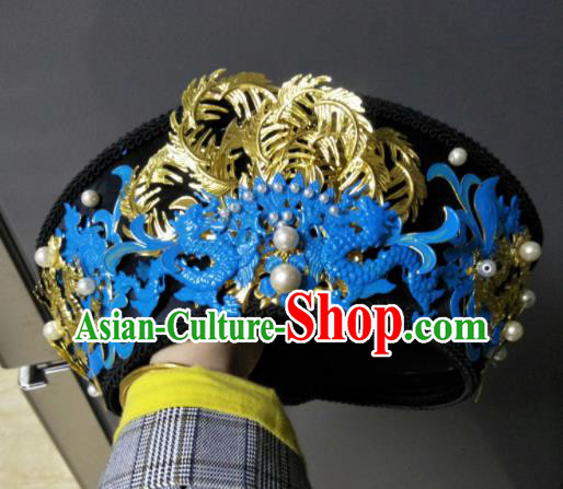 Traditional Chinese Handmade Qing Dynasty Manchu Queen Cloisonne Hat Hairpins Ancient Imperial Consort Hair Accessories for Women