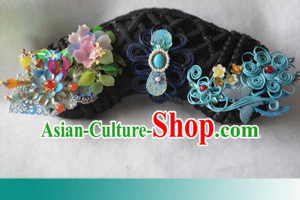 Traditional Chinese Qing Dynasty Manchu Princess Headwear Hairpins Ancient Handmade Queen Hair Accessories for Women