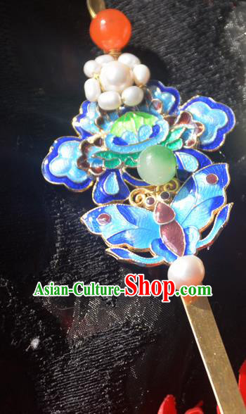 Traditional Chinese Handmade Queen Blueing Lotus Butterfly Hairpins Ancient Imperial Empress Hair Accessories for Women