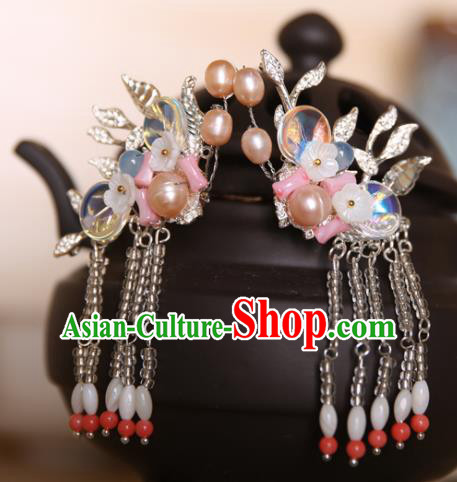 Chinese Handmade Hanfu Tassel Pearls Hair Claws Hairpins Traditional Ancient Princess Hair Accessories for Women