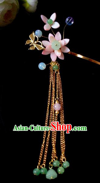 Chinese Handmade Hanfu Palace Pink Lotus Hair Clip Hairpins Traditional Ancient Princess Hair Accessories for Women