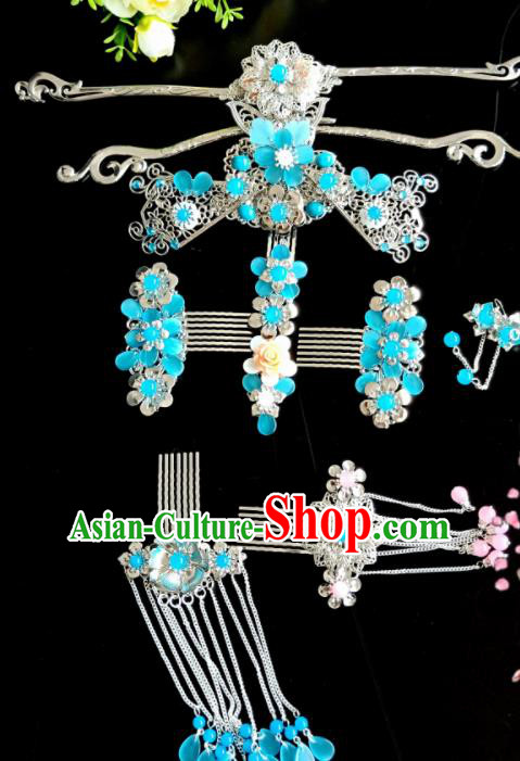 Chinese Handmade Hanfu Palace Hairpins Blue Flowers Phoenix Coronet Traditional Ancient Princess Hair Accessories for Women