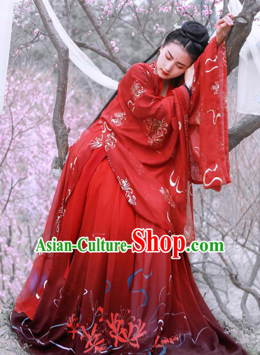 Chinese Ancient Princess Wedding Red Hanfu Dress Traditional Tang Dynasty Historical Costume for Women
