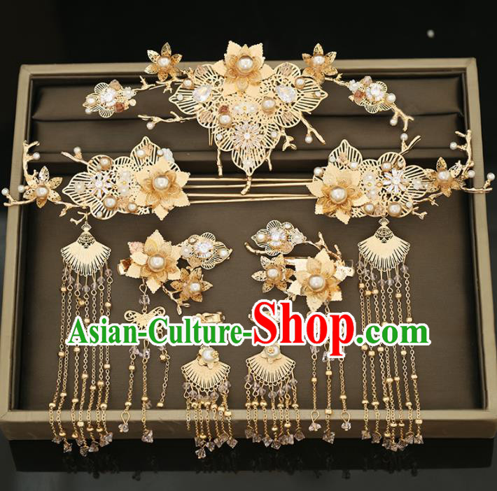 Handmade Chinese Ancient Wedding Golden Flowers Hair Comb Hairpins Traditional Bride Hanfu Hair Accessories for Women