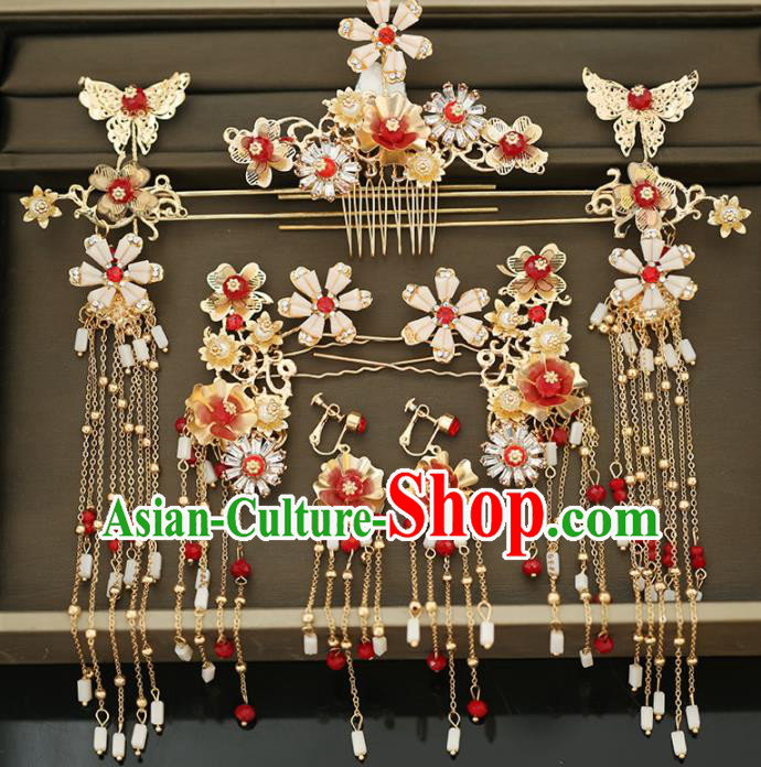 Handmade Chinese Ancient Wedding Hair Comb Hairpins Traditional Bride Hanfu Hair Accessories for Women