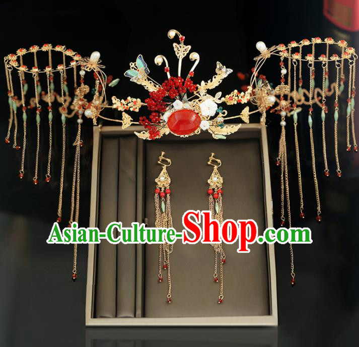 Handmade Chinese Ancient Wedding Hairpins Tassel Butterfly Phoenix Coronet Traditional Bride Hanfu Hair Accessories for Women