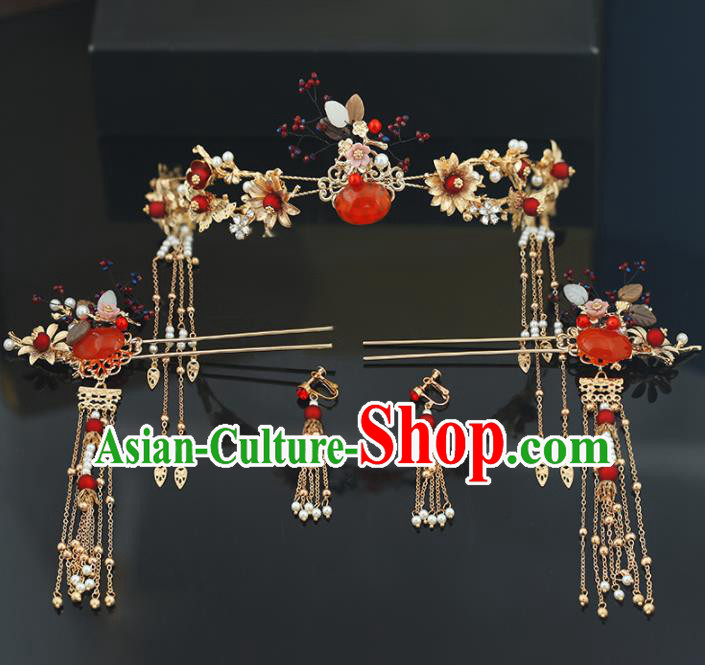 Handmade Chinese Ancient Wedding Bride Hair Clasp Tassel Hairpins Traditional Hanfu Hair Accessories for Women