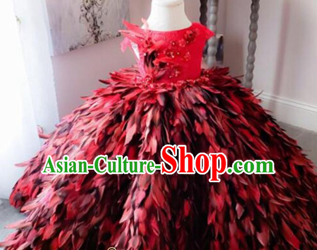Top Grade Modern Fancywork Court Princess Red Feather Dress Catwalks Compere Stage Show Dance Costume for Kids