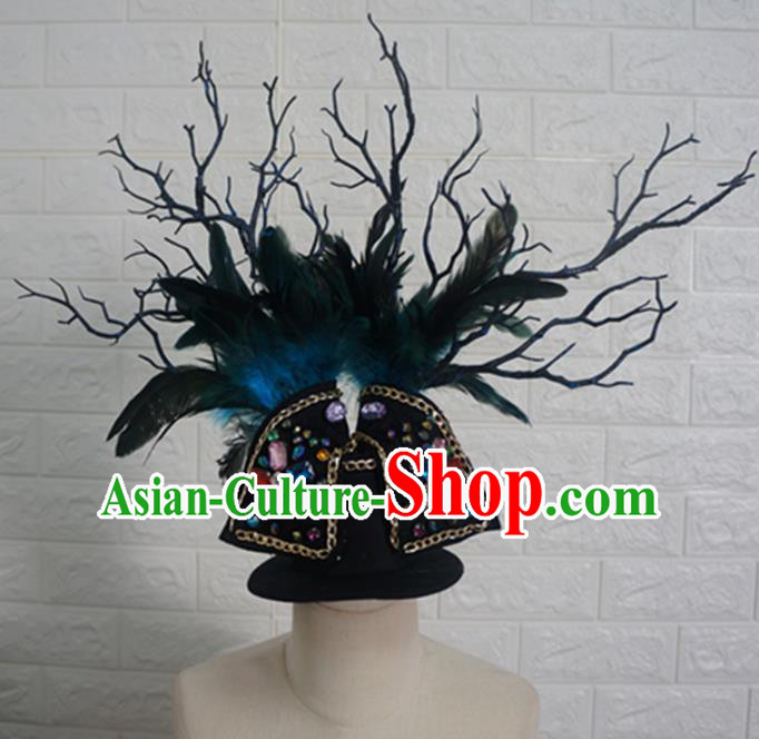 Top Grade Handmade Stage Show Hair Accessories Halloween Cosplay Green Feather Top Hat Headwear for Kids