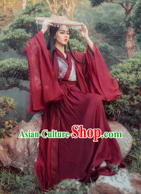 Chinese Traditional Ancient Swordswoman Red Hanfu Dress Jin Dynasty Court Princess Historical Costume for Women