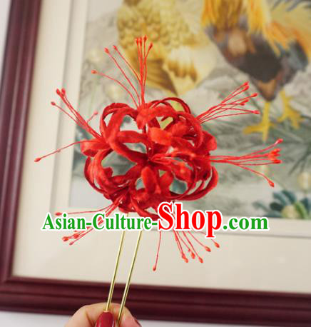 Chinese Handmade Red Velvet Spider Lily Hairpins Ancient Palace Hair Accessories Headwear for Women