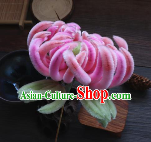 Chinese Handmade Pink Velvet Chrysanthemum Hairpins Ancient Palace Hair Accessories Headwear for Women