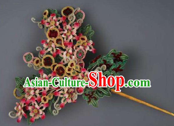 Chinese Handmade Velvet Hairpins Ancient Palace Queen Hair Accessories Headwear for Women