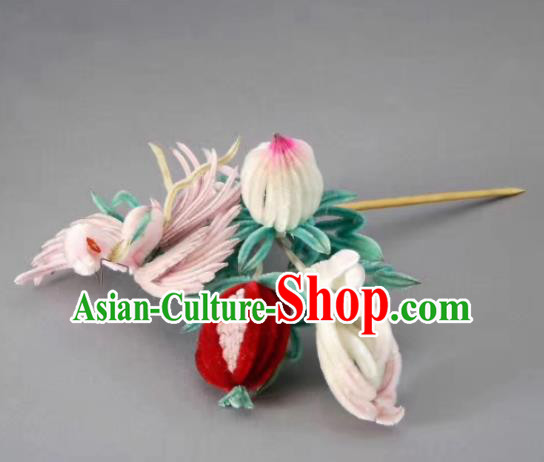 Chinese Handmade Velvet Phoenix Hairpins Ancient Palace Queen Hair Accessories Headwear for Women