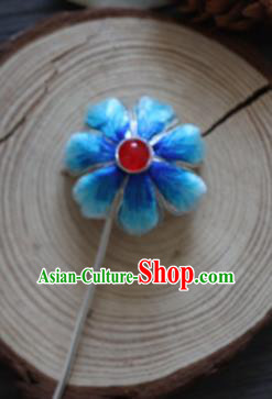 Chinese Handmade Blue Velvet Hairpins Ancient Palace Queen Hair Accessories Headwear for Women