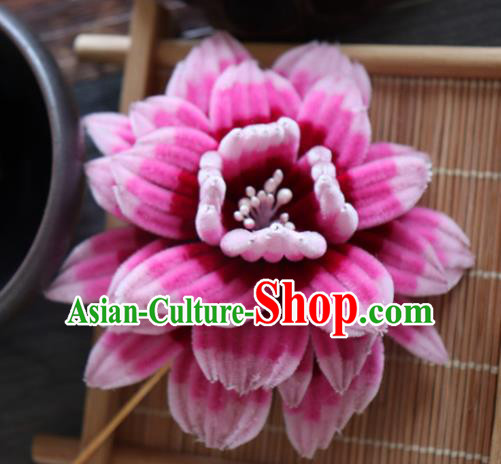 Chinese Handmade Rosy Velvet Peony Hairpins Ancient Palace Queen Hair Accessories Headwear for Women